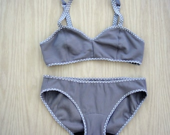 Grey polka dot underwear and bralette set, custom-made