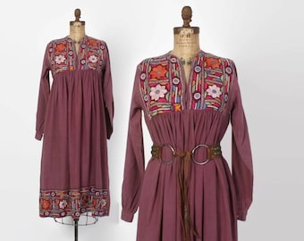 Vintage 70s INDIAN Cotton Dress / 1970s  Ethnic India Embroidered Mirrors Boho Dress