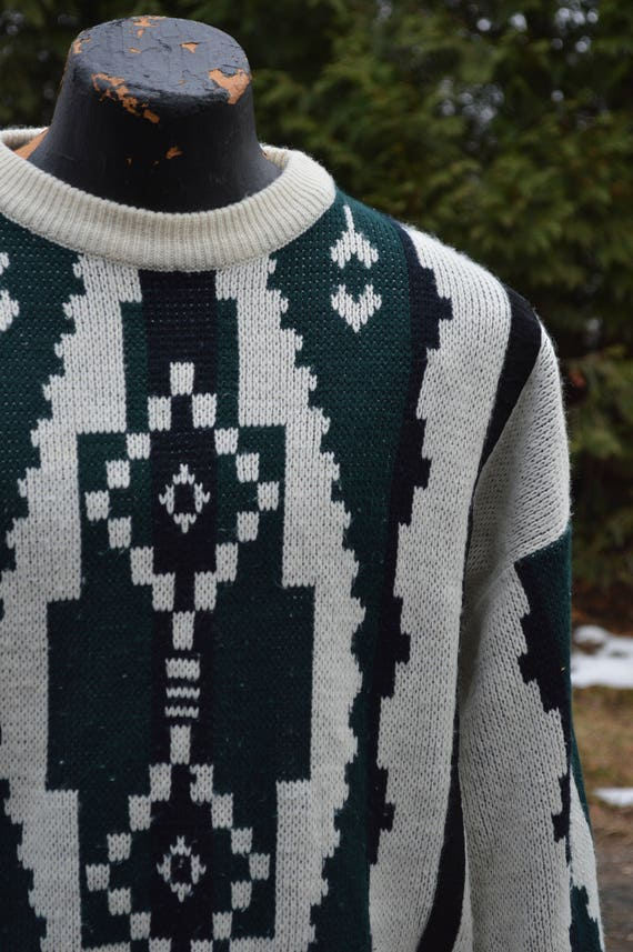 Vintage Mens Sweater Beige Green Geometric 1990s Gochu by KBB