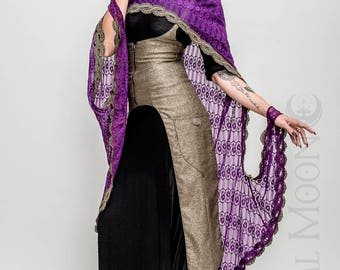 "NEW Specialty: The ""Faerie Queen"" Purple Lace Cape with Metallic Gold Trim by Opal Moon Designs (One Size)"