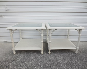 Pair Fretwork Faux Bamboo End Tables 2 Hollywood Regency Chinese Chippendale LANE Side Palm Beach