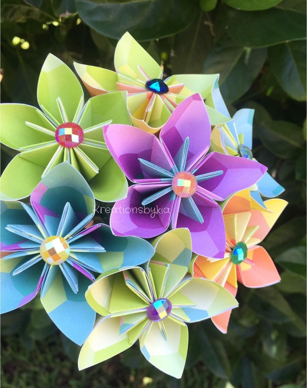 Origami Paper Flower Bouquet Wedding Flowers Bridal