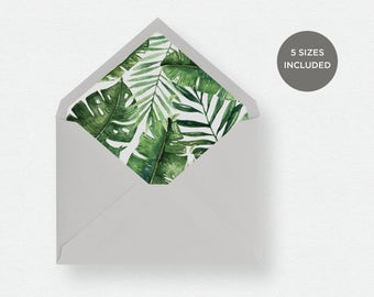 Envelope Liner Template | 5 Envelope Sizes Included Printable Instant Downloads | Palm Leaves | No. EDN 5485