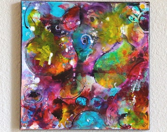 Original Abstract Mixed Media Art Acrylic Painting on 12 x 12 Canvas Fantasy Rat Owl And Bull Frog Art By Charlotte Littlejohn