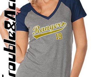 Glitter Rangers Baseball Shirt, Women's Baseball Tee, Raglan V-Neck Shirt, FV Rangers with Player Number Baseball Mom Shirt
