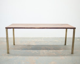 Modern Dining Table - Black Walnut with Brass Base - Seat 6