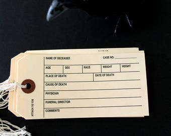 toe tags lot of 10 coroner & funeral body identification tags, morgue, post mortem,  party invitations, death