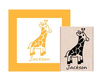 Giraffe Personalized Rubber Stamp