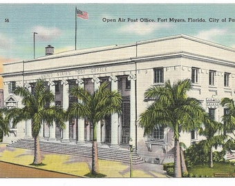 Vintage Florida Linen Postcard Fort Ft Myers Open Air Post Office Royal Palms City of Palms UNUSED