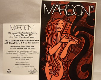 Maroon 5 Songs About Jane Album Cover Art Official Promo Sticker, Adam Levine, Decal, Rare Collectible