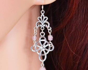 Witches Knot Earrings with Rose Quartz - Pagan Jewellery, perfect for a Wiccan or Witch.  Comes with a  925 Hook.  Larp wear.