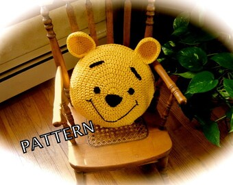 Crochet Bear Pattern - Crochet Pillow - Child's Pillow Pattern, Nursery Decor - crochet bear