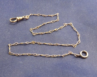 Antique Watch Chain Victorian Signed Fine Link Pre 1900 Spring Ring Swivel Catch