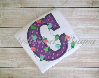 Applique Initial with Christmas Lights Ruffle T-shirt or Onesie for Boy or Girl