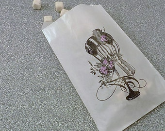 25 Corset Bust with Roses in Purples Glassine Bags for Candy Bar Popcorn Bar Dessert Favors Food Safe Candy Buffet Bags