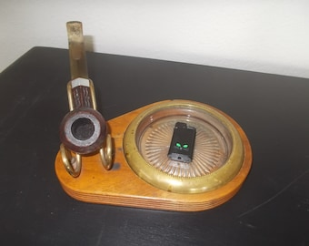 Mid Century Solid Walnut Pipe Stand with Ash Tray