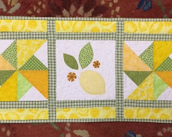 Whimsical lemon and pinwheel quilted wall hanging or table runner appliqued wall art quilt #308