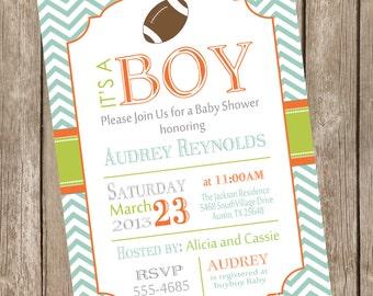 Chevron football baby shower invitation, football, lime, orange, mint, typography, printable invitation