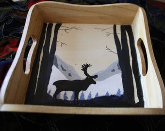tray wood reindeer