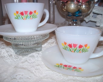 TWO Fire King Tulip Tea Cups and Saucers Like New