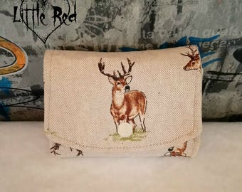 Red deer purse, wallet, coin purse, stag