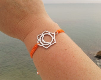 SACRAL CHAKRA bracelet in Tibetan silver and macrame cord. SECOND Chakra Bracelet. Handmade. Choose your color!