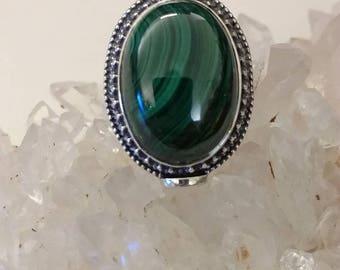 Malachite Ring Size 7