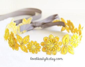 Yellow Beaded Lace Sash, Yellow Lace Headband ,  Bridal Headband, Bridesmaid Sash, Flower Girl Sash /SH08