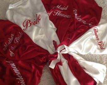 PACKAGE of 6 ~ Bridal Robes ~ Personalised Embroidery ~ Mix n Match styles, colours and sizes ~ Wedding Bride Bridesmaid Hens Gift