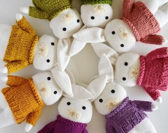 CUSTOM soft toy, stuffed toy animal,bunny doll, soft toy, white bunny rabbit, gift for baby, yellow doll, rag doll, nursery decor