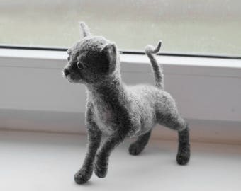Cute Sphynx Kitten, Handmade Animal, Sphynx Cat Soft Sculpture, Needle Felted Cat- READY TO SHIP