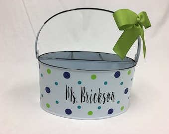 Personalized Desk organizer or Utensil holder, oval metal bucket, caddy, polka dots or other design, teacher gift, baby gift