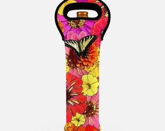 Floral wine bag, butterfly wine tote bag, insulated wine carrier, wine bottle carrier, wine gift bag, wine bottle tote, orange, yellow, pink