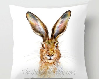 "Throw Pillow Cover with pillow insert Indoor  ..HARE,....PRINT art.. animal art - woodland art - fine art - bunny-  """"  rabbit """