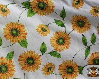 "Polycotton Printed DAISY YELLOW Fabric / 60"" Wide / Sold by the Yard"