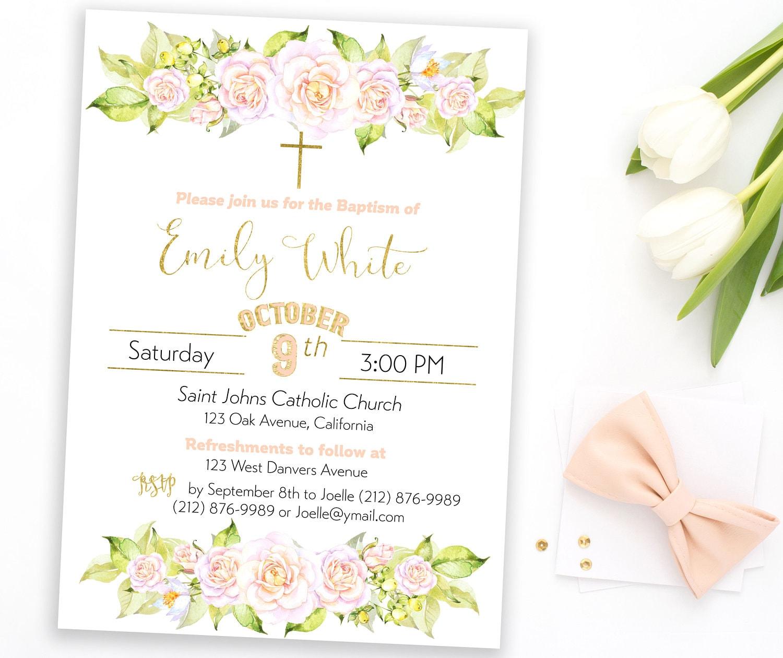 Girl Baptism Invitation Holy First Communion Shabby Chic