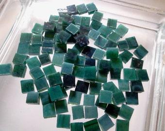 "100 1/4"" BLUEGREEN FOREST MOTTLED Tiny Mosaic Glass T10"