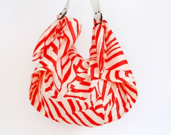 Free Shipping Worldwide / Stripe furoshiki bag (red) & white leather carry strap set