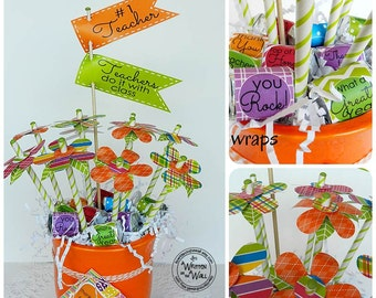 Teacher Nugget Wraps & Tags,  Flower Bouquet, Teacher Appreciation Gift, Gift Idea, Hershey Nugget Wraps, Flags, Gift Cards, Paper Flower