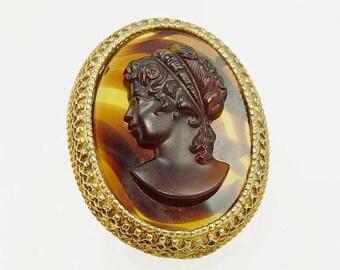 Vintage Florenza Cameo Brooch Caramel Slag Glass Victorian Revival