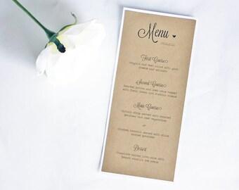 Rustic Kraft Wedding Table Menus, Rustic Table Menus, Rustic Wedding, Rustic Wedding Dinner Menu, Wedding Menus, Kraft Wedding Menus