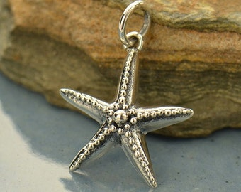 Sterling Silver, Starfish Charm, Granulation, Silver Starfish, Under the Sea, By the Sea, Silver Beach Charm, Beach Charm, Beach Jewelry