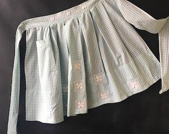 Vintage Apron Gingham pale green, check, cotton, half apron