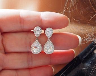 Cubic Zirconia Teardrop Earrings, Upside Down Teardrop Ear Post, Stainless Steel Post, Bridal Drop Earrings, Wedding, Bridal Jewelry -17S54E