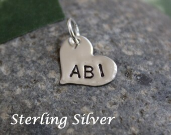 """Sterling silver heart name charm, initial charm, heart pendant, heart charm, 1/2"""", handstamped jewelry, personalized name charm"""