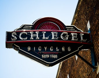 Oklahoma City - Neon Sign - Buildings - Automobile Alley - Architecture - Downtown - Schlegel Bicycles 905 Neon