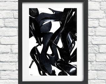 Print of Painting of Shoes, Fashion Print, Fashion Illustration, Acrylic Painting Print, Wall Art, Print of Original Art