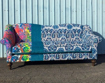Sofa Couch Upholstered with Curved Arms Custom Sized