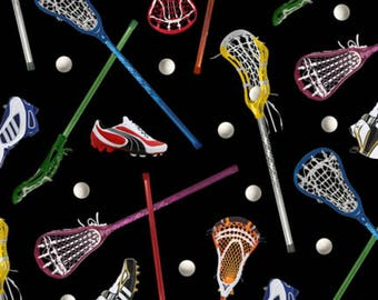 Elizabeths Studio - Sports - Lacrosse - Black - Fabric by the Yard 421E-BLK