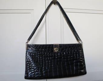 Christian Dior black croc patent shoulder bag, vintage